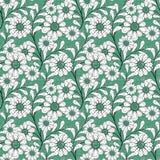El modelo inconsútil floral, historieta linda florece el fondo verde Foto de archivo libre de regalías
