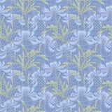 El modelo inconsútil floral, las flores azules del cartoonlight lindo enciende el fondo Imágenes de archivo libres de regalías