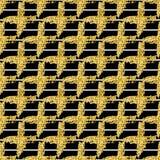El modelo inconsútil moderno con el cepillo raya la tela escocesa y la cruz Blanco, color metálico del oro en fondo negro golden Imagen de archivo