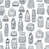 El modelo inconsútil monocromático con los cotos hechos en casa en los tarros de cristal y las botellas dan exhausto con las líne stock de ilustración