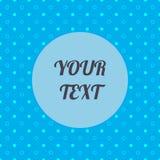 El modelo inconsútil azul abstracto, los círculos blancos, las ondas y los puntos con el cuadro de texto redondo mínimo diseñan l Fotografía de archivo libre de regalías