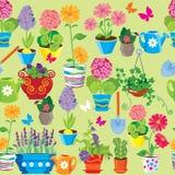 El modelo inconsútil con la primavera y el verano florece en potes Imágenes de archivo libres de regalías