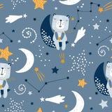 El modelo infantil inconsútil con lindo refiere las nubes, luna, estrellas Textura escandinava creativa de los niños del estilo p ilustración del vector