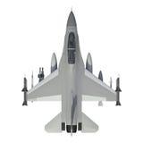 El modelo tridimensional de un avión militar de los países de la OTAN Aviones con la munición llena El armamento del aircr Imagenes de archivo