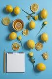 El modelo tropical de la taza de diversos tamaños del té, de las rosas y de los limones dispersó en un fondo azul Diseño fresco p Fotografía de archivo libre de regalías