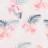 El modelo tropical inconsútil del vector con rododendro del rosa del paraíso florece y las hojas de palma exóticas en fondo bland stock de ilustración