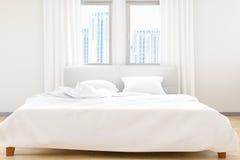 El moderno del concepto blanco de las hojas de cama del dormitorio y de las almohadas, de la comodidad y del lecho, ejemplo 3D Fotos de archivo