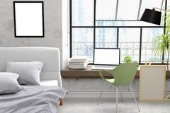 El modernos diseño concreto del dormitorio del desván del viejo con mofa del ordenador portátil del parque del trabajo para arrib Fotografía de archivo