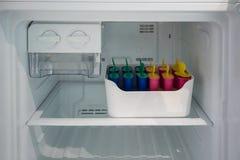 El molde clásico del polo fijó en el envase del congelador para el hielo hecho en casa fotografía de archivo