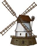 El molino de viento drenado en un grabar en madera tiene gusto de método Imagen de archivo