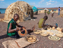 El molo people sells traditional souvenirs Stock Images