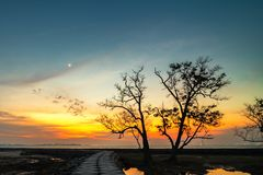 El momento de la puesta del sol en la isla bintan fotos de archivo