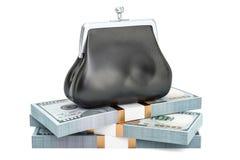 El monedero con el montón del dólar embala, la representación 3D stock de ilustración