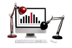 El monitor con el gráfico fotografía de archivo libre de regalías