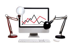 El monitor con el gráfico imágenes de archivo libres de regalías