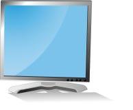 El monitor con una cortina en un fondo blanco Fotografía de archivo