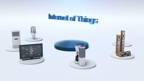 El monitor de conexión de la red global de la tierra, microonda, bombilla, lavadora, conecta Internet de cosas libre illustration