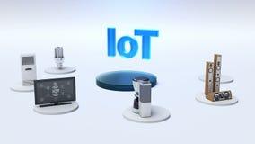 El monitor de conexión de la red global de la tierra, microonda, bombilla, lavadora, conecta IoT Internet de cosas ilustración del vector