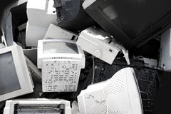 El monitor de la CRT del ordenador de la dotación física recicla industria Fotos de archivo