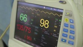 El monitor en la sala de operaciones muestra el pulso y los datos pacientes del ` s almacen de video