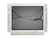 El monitor quebrado de la TV vieja aisló en un fondo blanco imágenes de archivo libres de regalías