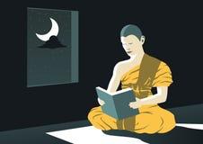 El monje leyó el libro de Dharma en la noche en templo para estudiar a Buda para enseñar para deber fuera de sufrir, una rutina d stock de ilustración