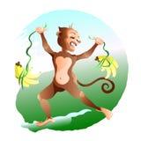 El mono del orgullo es muchos plátanos ilustración del vector