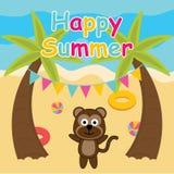 El mono lindo es feliz en la historieta de la playa, la postal del verano, el papel pintado, y la tarjeta de felicitación Foto de archivo
