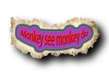 El mono ve el mono hacer Imagen de archivo