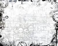 El monocromo creativo registra el fondo industrial del blanco del marco stock de ilustración