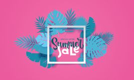 El monstera tropical de la palma del verano horizontal se va en estilo cortado de papel trandy El marco 3d de la casilla blanca p stock de ilustración