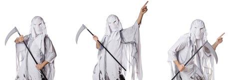 El monstruo con la guada?a en el concepto de Halloween imagen de archivo libre de regalías