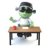 el monstruo de 3d Halloween Frankenstein se sienta en su escritorio Fotos de archivo libres de regalías