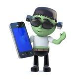 el monstruo del frankenstein de 3d Halloween tiene un dispositivo de la tableta del smartphone Fotografía de archivo