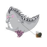 El monstruo encantador con un caracol en un correo Imagen de archivo libre de regalías