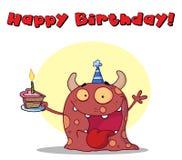 El monstruo rojo feliz celebra cumpleaños Fotografía de archivo libre de regalías