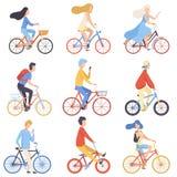 El montar a caballo de la gente monta en bicicleta hombres determinados, de ciclos y a las mujeres que ejercitan, relajando o yen stock de ilustración