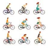 El montar a caballo de la gente monta en bicicleta el sistema, hombres y a mujeres en el ejemplo del vector de las bicis ilustración del vector