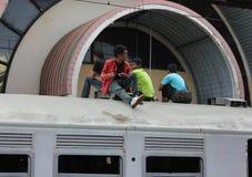 El montar en el tejado Foto de archivo