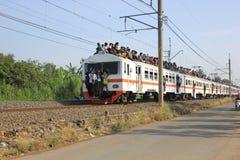 El montar en el tejado del tren Fotos de archivo