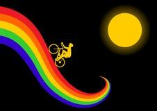El montar encima del arco iris Stock de ilustración