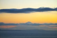 El monte Fuji en la madrugada Imágenes de archivo libres de regalías