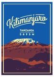 El monte Kilimanjaro en cartel al aire libre de la aventura de África, Tanzania El volcán más alto en el ejemplo de la tierra Fotografía de archivo