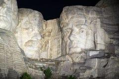 El monte Rushmore en la noche Foto de archivo libre de regalías