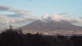 El monte Vesubio en la puesta del sol y los árboles almacen de video