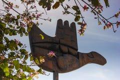 EL MONUMENTO ABIERTO DE LA MANO, CHANDIGARH, LA INDIA Fotos de archivo libres de regalías