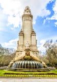 El monumento de Cervantes, la torre de Madrid en Madrid Fotografía de archivo libre de regalías