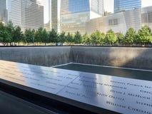 El monumento de 9/11 en New York City Imágenes de archivo libres de regalías