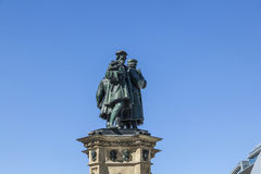 El monumento de Johannes Gutenberg en el Rossmark meridional Foto de archivo libre de regalías
