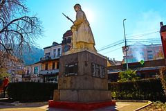 El monumento de la foto hermosa del guerrero desconocido de Petrich Imagen de archivo